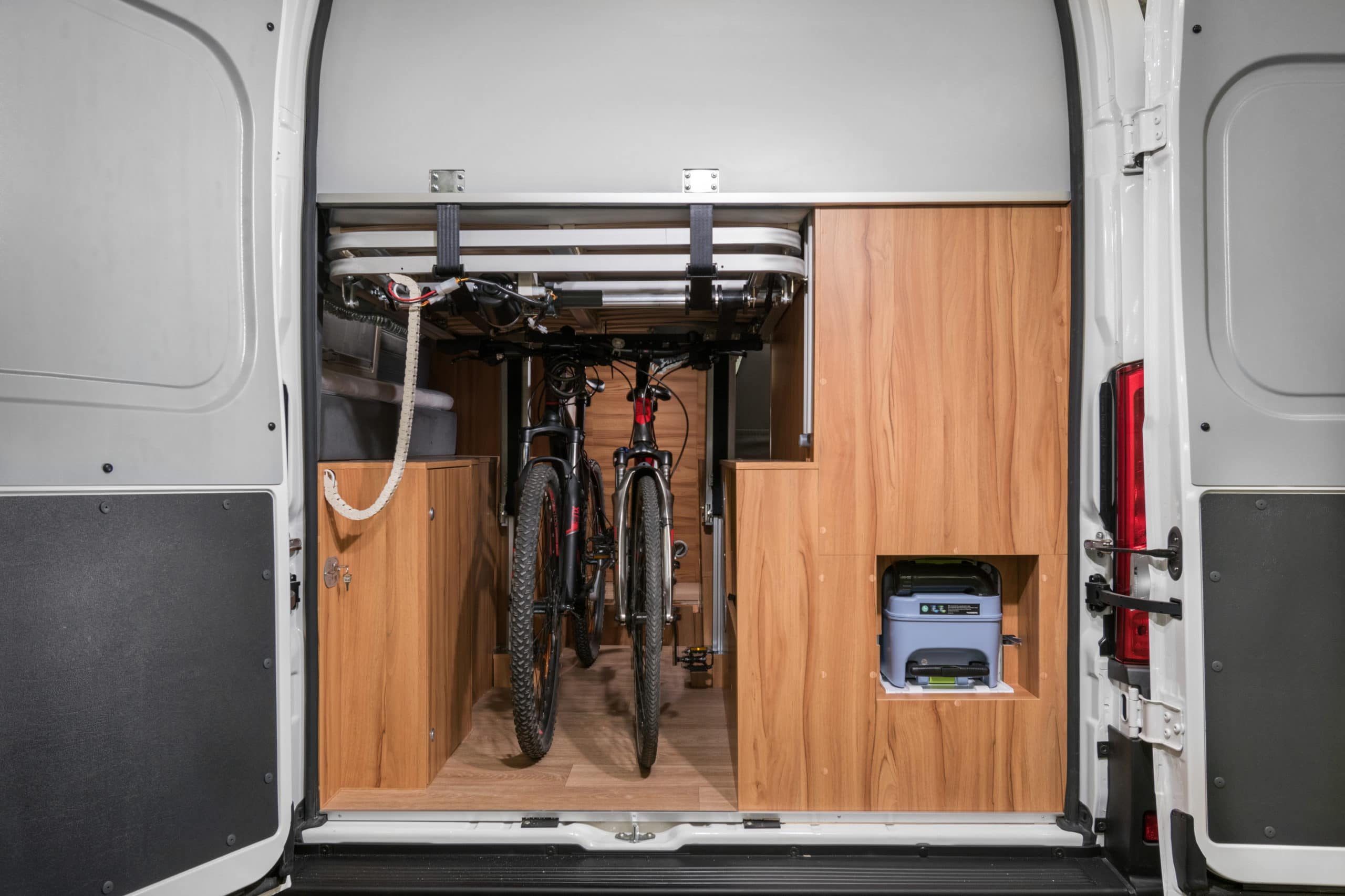 Camper van with two bikes inside