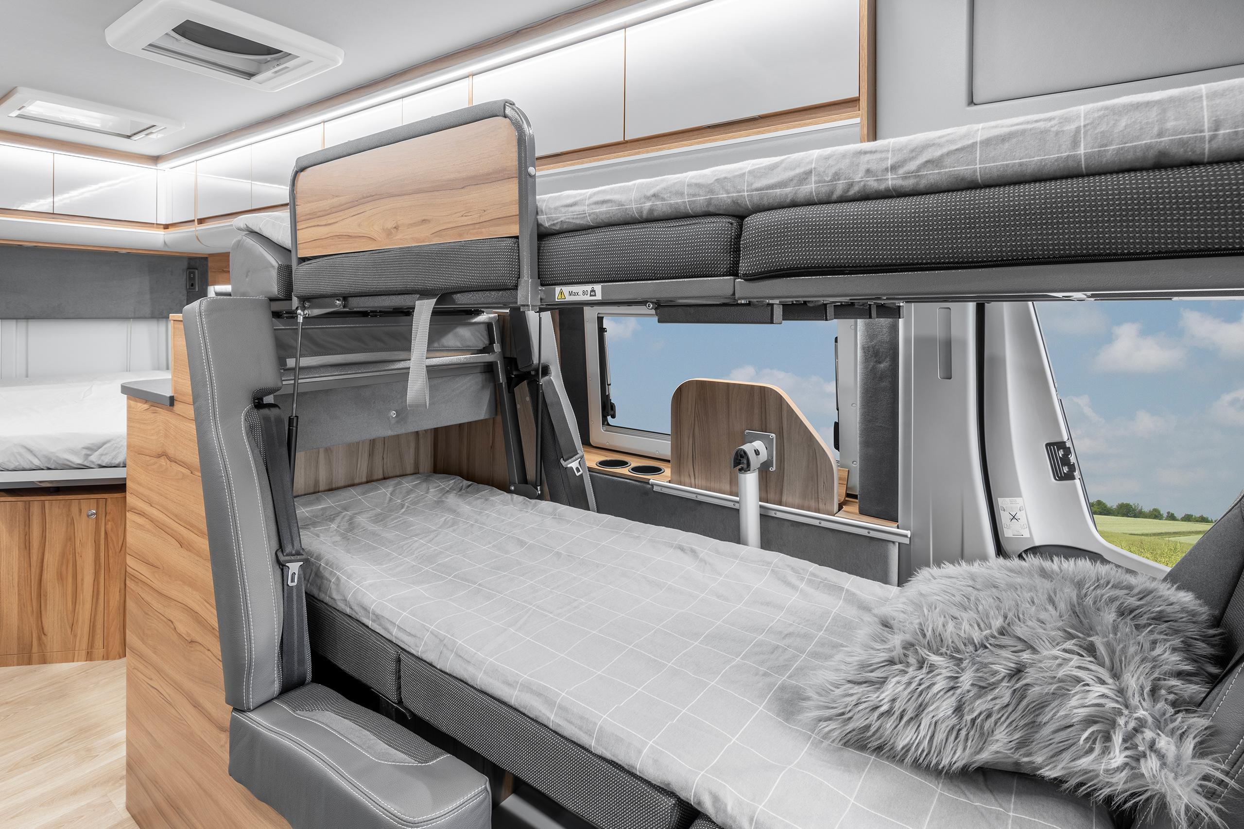 Bunk bed in a campervan